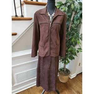 First Option Too Women Brown Polyester Long Sleeve 2 Piece Suit 18W
